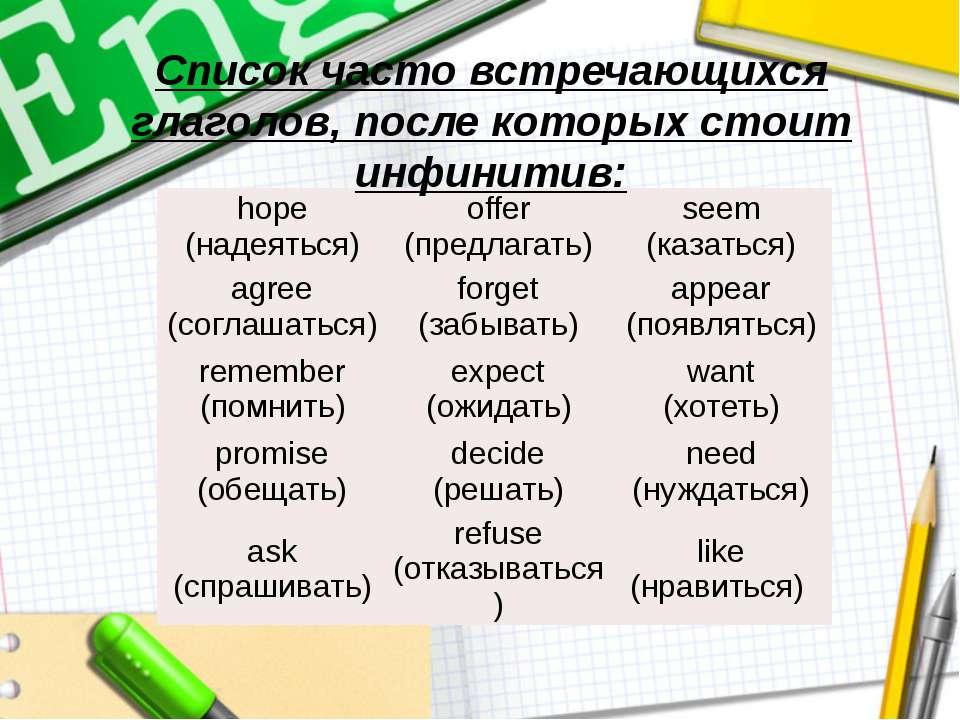 Список часто встречающихся глаголов, после которых стоит инфинитив: hope (над...