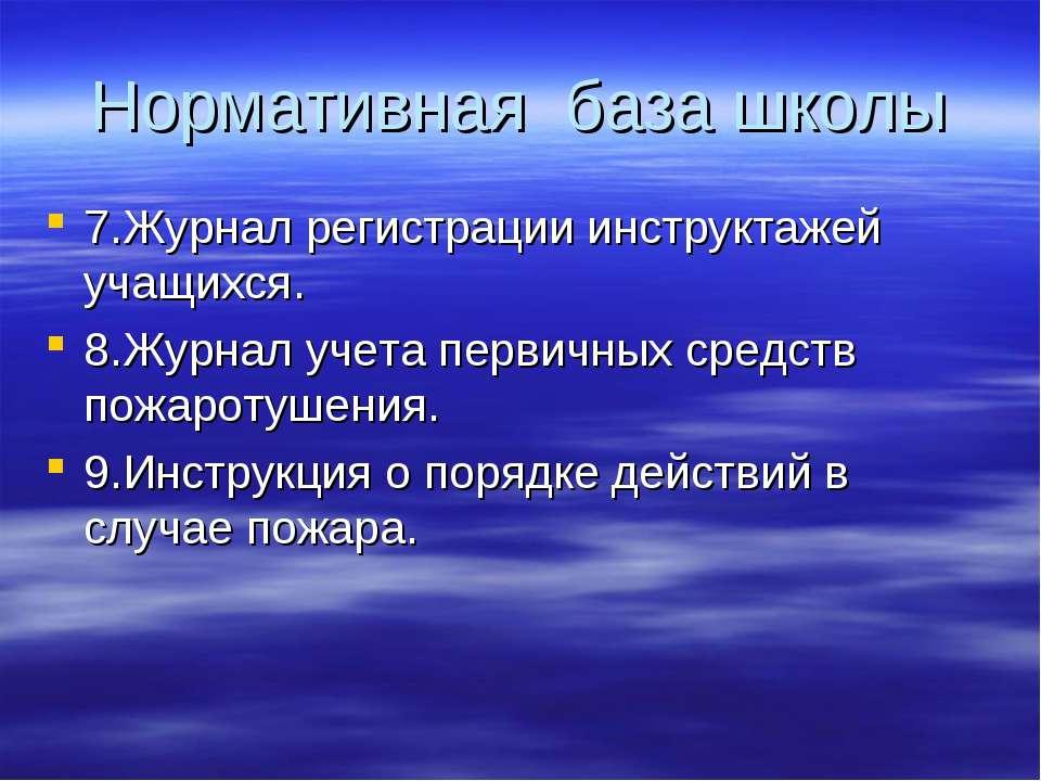Нормативная база школы 7.Журнал регистрации инструктажей учащихся. 8.Журнал у...
