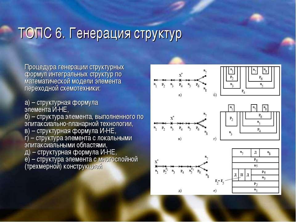 ТОПС 6. Генерация структур Процедура генерации структурных формул интегральны...