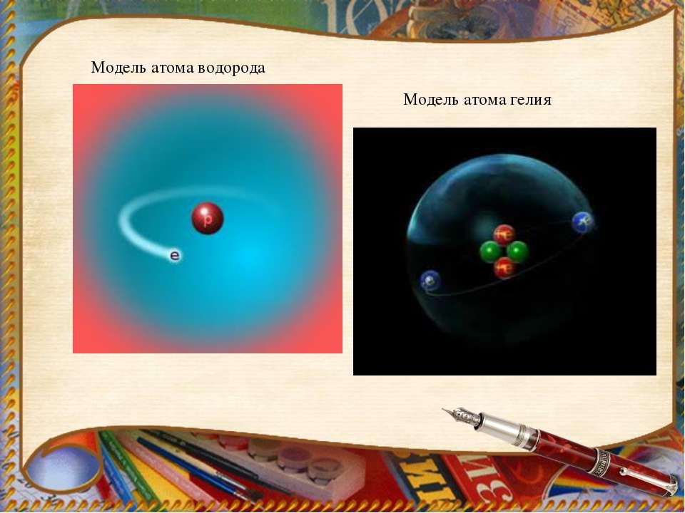 Модель атома водорода Модель атома гелия