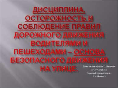 Московская область Г.Щелково МОУ СОШ №1 Классный руководитель : И.А.Янковая