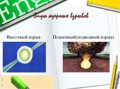 Высотный взрыв Подземный(подводный взрыв)