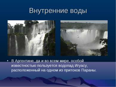 Внутренние воды В Аргентине, да и во всем мире, особой известностью пользуетс...