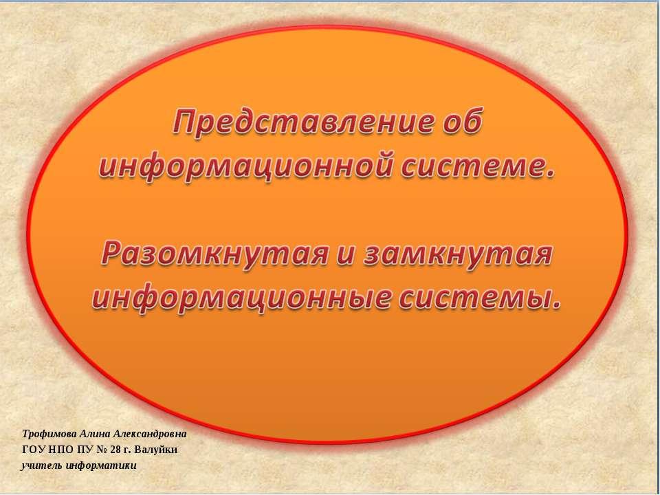 Трофимова Алина Александровна ГОУ НПО ПУ № 28 г. Валуйки учитель информатики