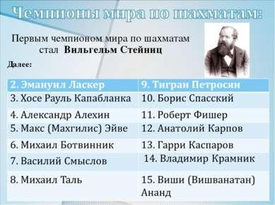 Первым чемпионом мира по шахматам стал Вильгельм Стейниц Далее: