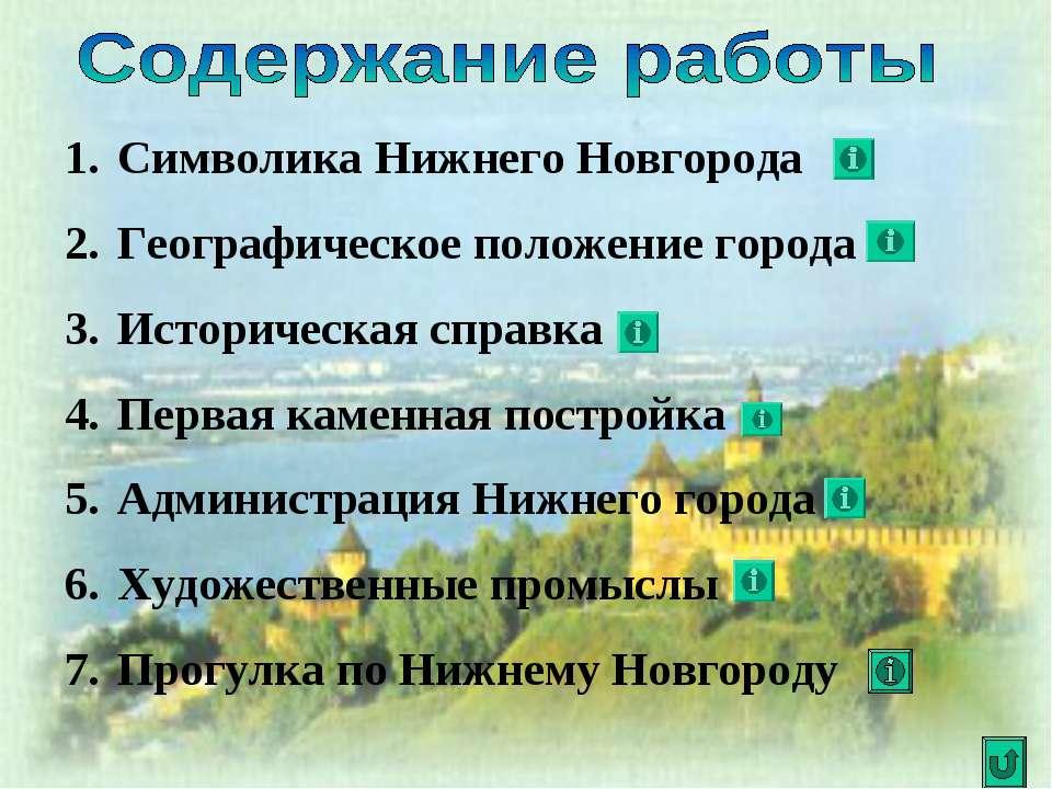 Символика Нижнего Новгорода Географическое положение города Историческая спра...