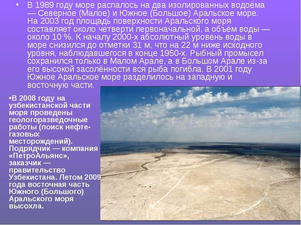 В 1989 году море распалось на два изолированных водоёма — Северное (Малое) и ...