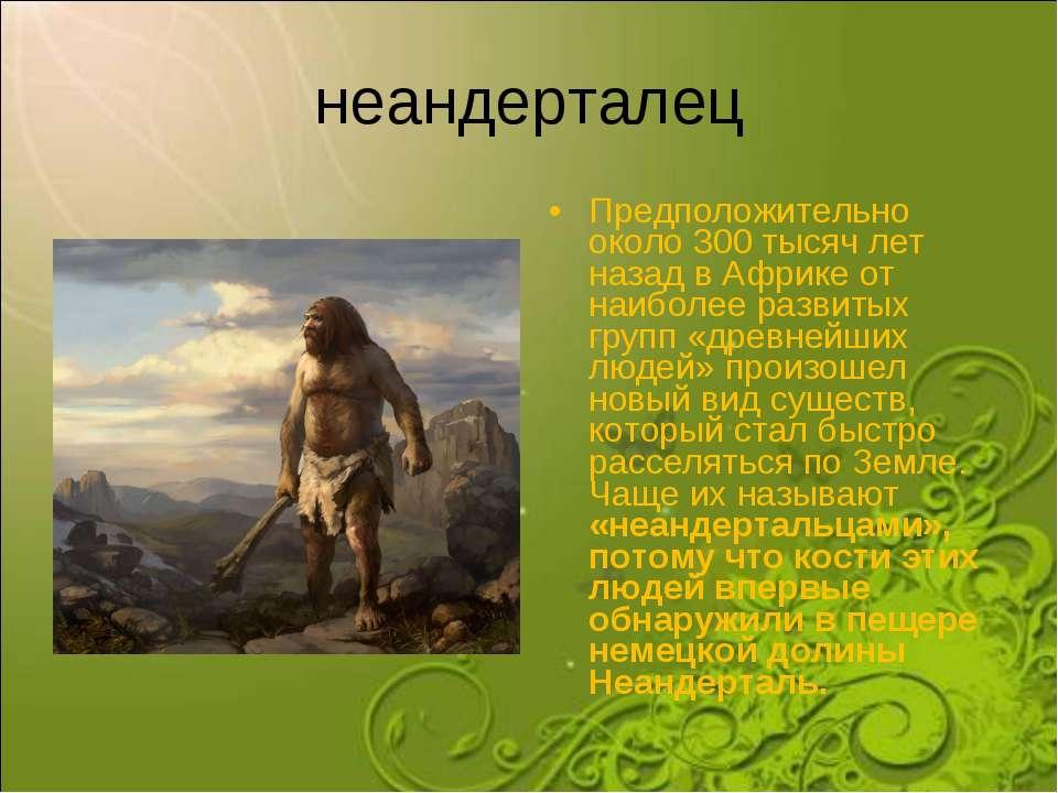 неандерталец Предположительно около 300 тысяч лет назад в Африке от наиболее ...
