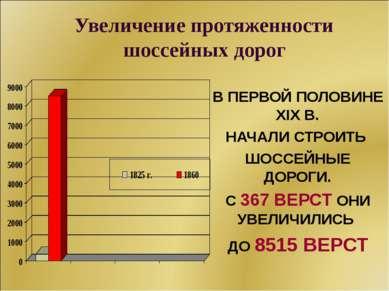 Увеличение протяженности шоссейных дорог В ПЕРВОЙ ПОЛОВИНЕ XIX В. НАЧАЛИ СТРО...