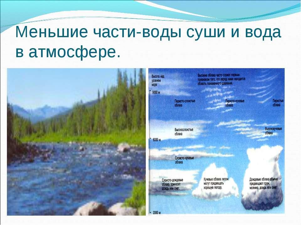 Меньшие части-воды суши и вода в атмосфере.