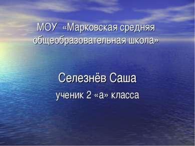 МОУ «Марковская средняя общеобразовательная школа» Селезнёв Саша ученик 2 «а»...