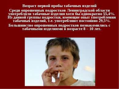 Возраст первой пробы табачных изделий Среди опрошенных подростков Ленинградск...