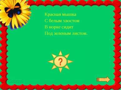 Красная мышка С белым хвостом В норке сидит Под зеленым листом.