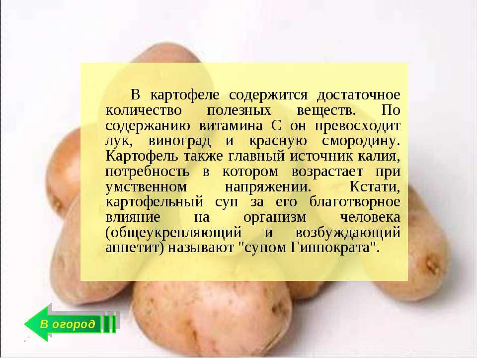 В огород В картофеле содержится достаточное количество полезных веществ. По с...