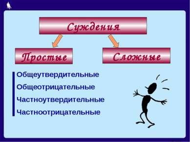 Общеутвердительные Общеотрицательные Частноутвердительные Частноотрицательные...