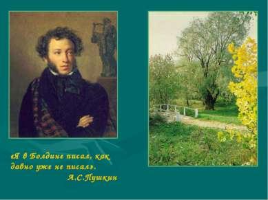 «Я в Болдине писал, как давно уже не писал». А.С.Пушкин