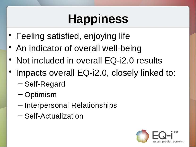 Happiness Feeling satisfied, enjoying life An indicator of overall well-being...