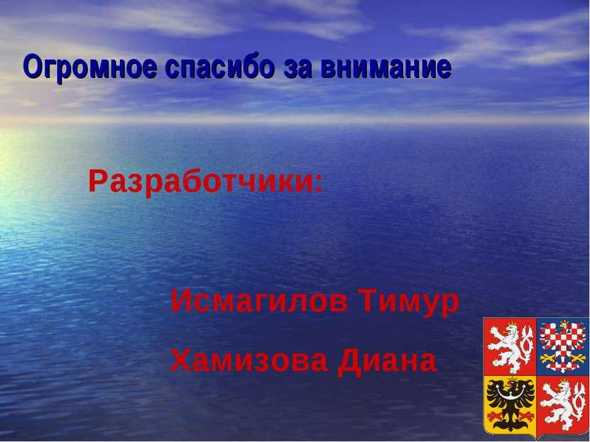 Огромное спасибо за внимание Разработчики: Исмагилов Тимур Хамизова Диана