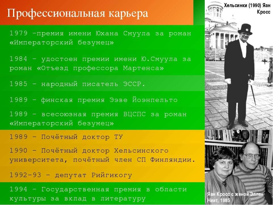 Профессиональная карьера 1992-93 – депутат Рийгикогу 1989 – Почётный доктор Т...