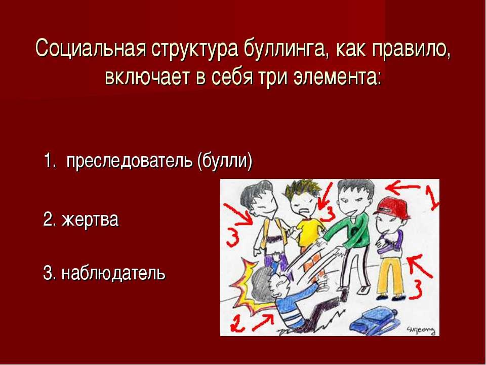 Социальная структура буллинга, как правило, включает в себя три элемента: 1. ...