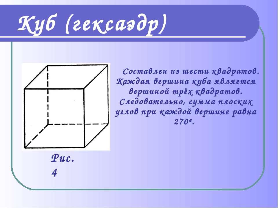 Куб (гексаэдр) Составлен из шести квадратов. Каждая вершина куба является вер...