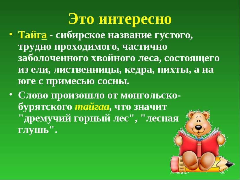 Это интересно Тайга - сибирское название густого, трудно проходимого, частичн...