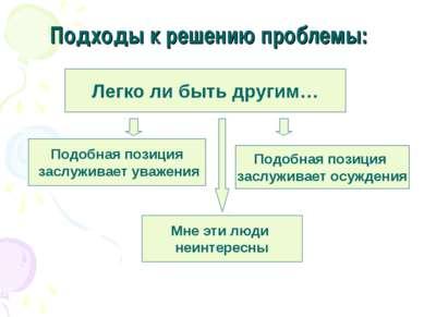 Подходы к решению проблемы: Легко ли быть другим… Подобная позиция заслуживае...