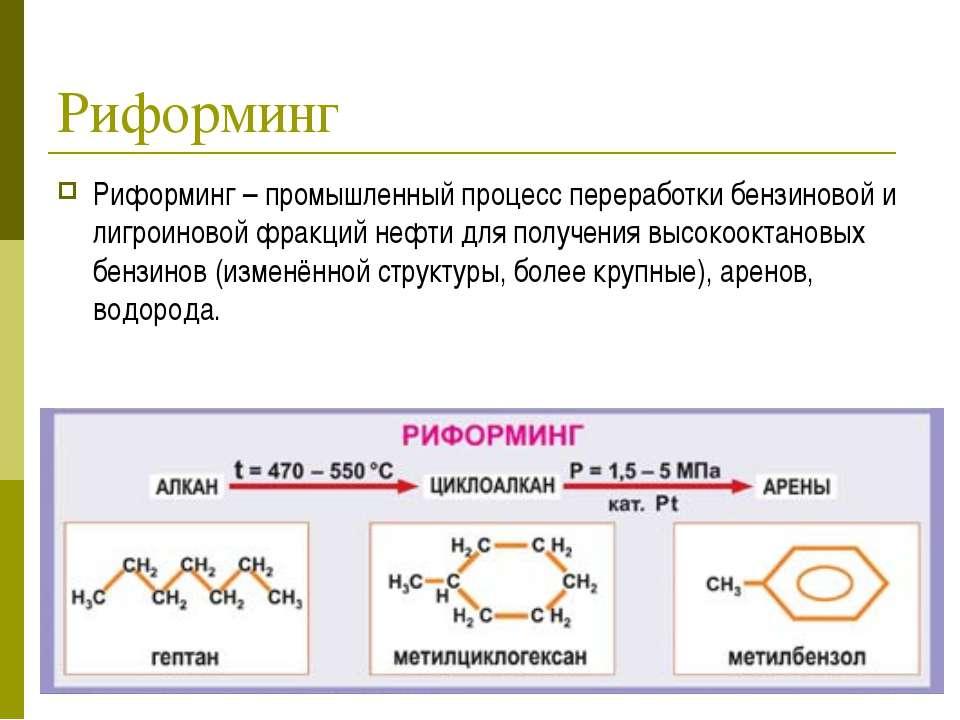 Риформинг Риформинг – промышленный процесс переработки бензиновой и лигроинов...