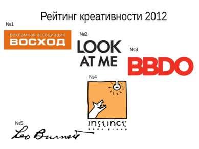 Рейтинг креативности 2012 №1 №2 №3 №4 №5