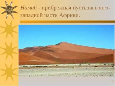 * Намиб - прибрежная пустыня в юго-западной части Африки.
