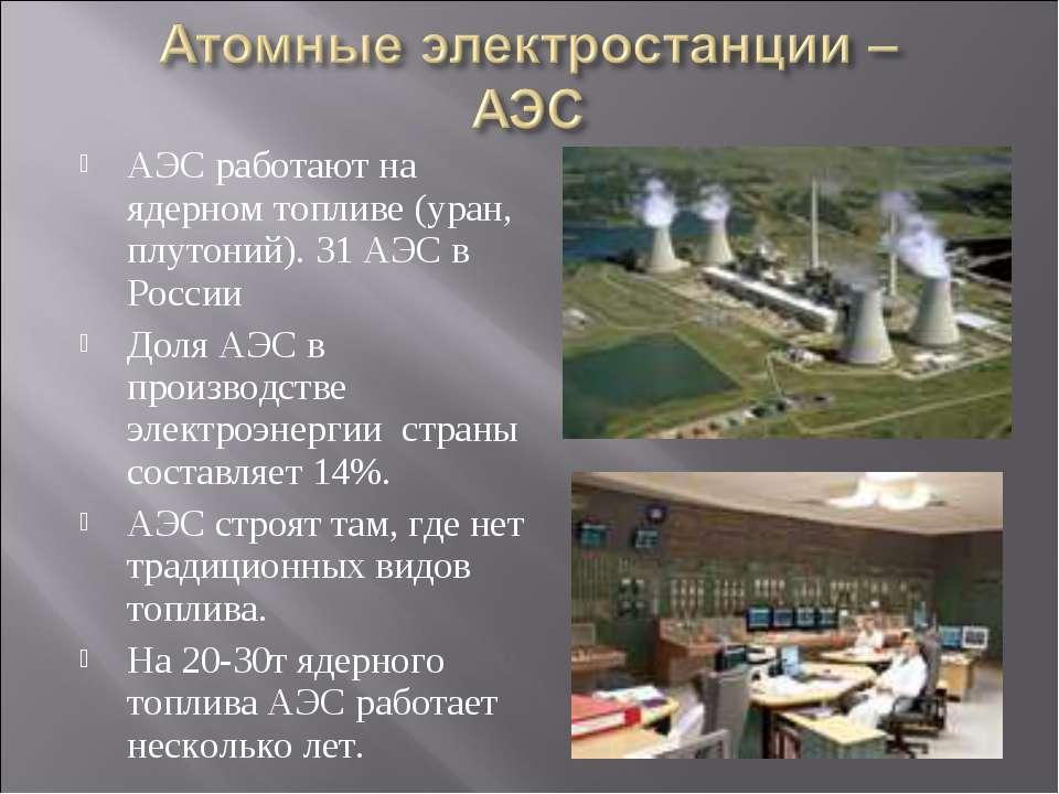 АЭС работают на ядерном топливе (уран, плутоний). 31 АЭС в России Доля АЭС в ...