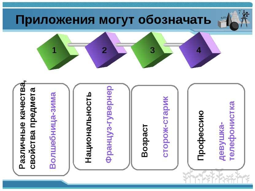 Приложения могут обозначать 1 2 3 4 Различные качества, свойства предмета Вол...