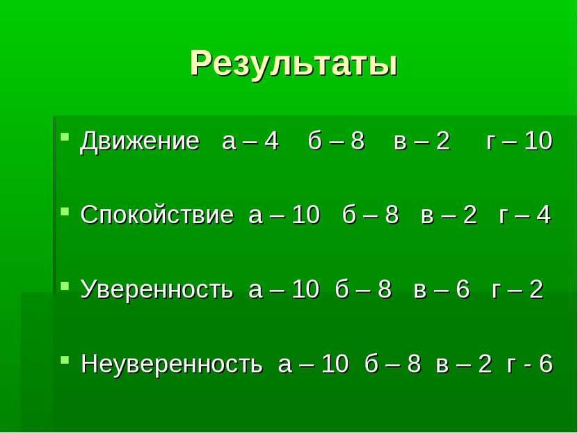 Результаты Движение а – 4 б – 8 в – 2 г – 10 Спокойствие а – 10 б – 8 в – 2 г...