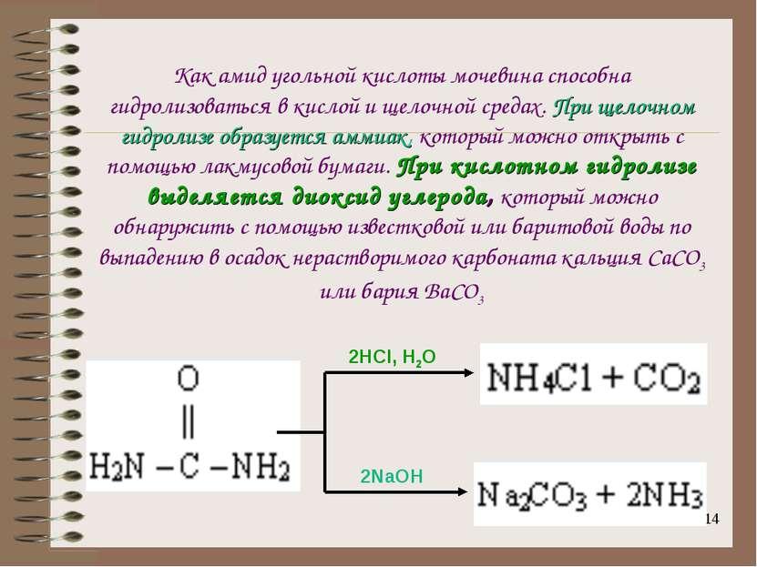 * Как амид угольной кислоты мочевина способна гидролизоваться в кислой и щело...
