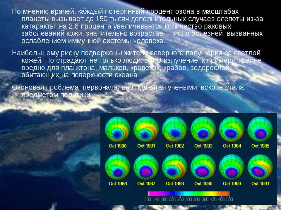 По мнению врачей, каждый потерянный процент озона в масштабах планеты вызывае...