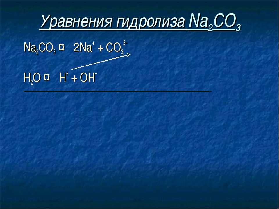 Уравнения гидролиза Na2CO3 Na2CO3 ↔ 2Na+ + СO32– Н2O ↔ Н+ + ОН– _____________...