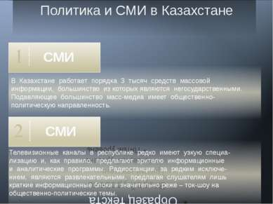 Политика и СМИ в Казахстане 1 В Казахстане работает порядка 3 тысяч средств м...
