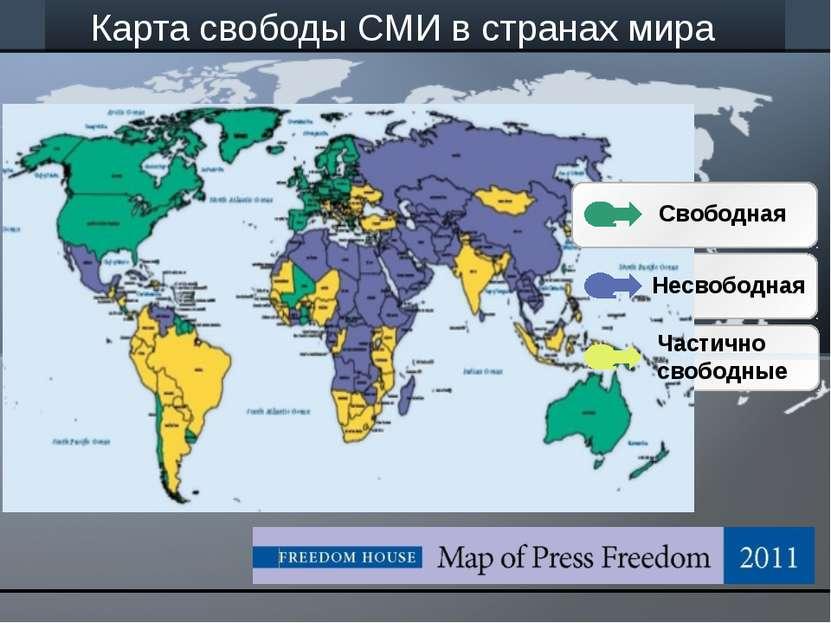 Карта свободы СМИ в странах мира Несвободная Частично свободные Свободная let...