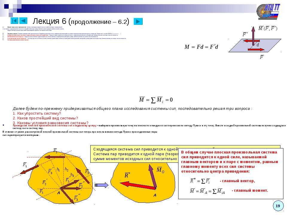 Момент пары сил в пространстве – вектор, перпендикулярный плоскости действия ...