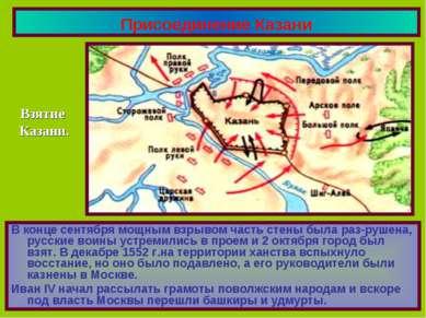 Присоединение Казани В конце сентября мощным взрывом часть стены была раз-руш...