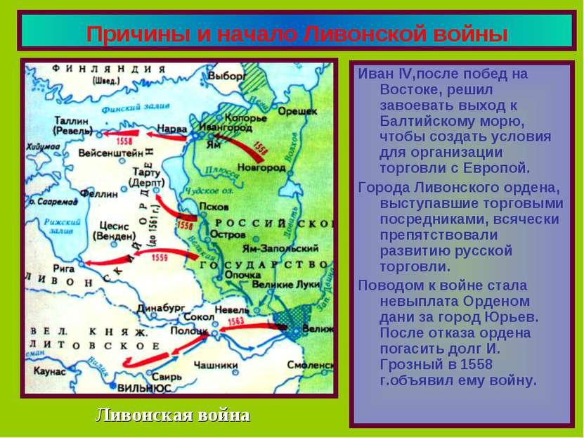 Причины и начало Ливонской войны Иван IV,после побед на Востоке, решил завоев...
