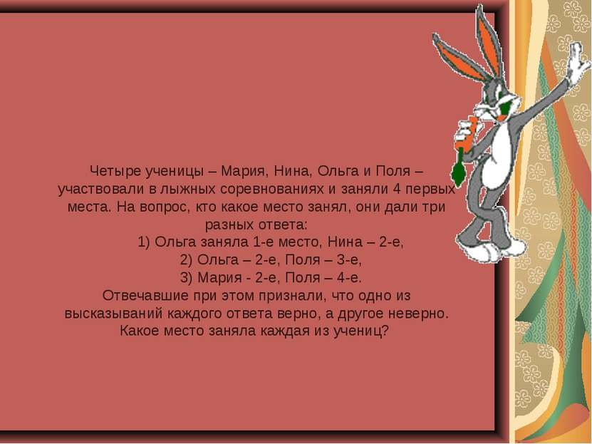 Четыре ученицы – Мария, Нина, Ольга и Поля – участвовали в лыжных соревновани...