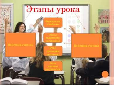 Этапы урока Действия учителя Действия ученика Формирование проблемы Этапы выд...