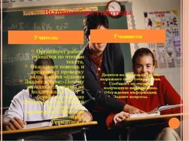 Выдвижение гипотезы Организует работу учащихся по чтению текста. Оказывает по...