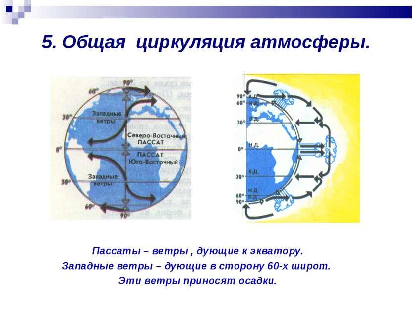 5. Общая циркуляция атмосферы. Пассаты – ветры , дующие к экватору. Западные ...