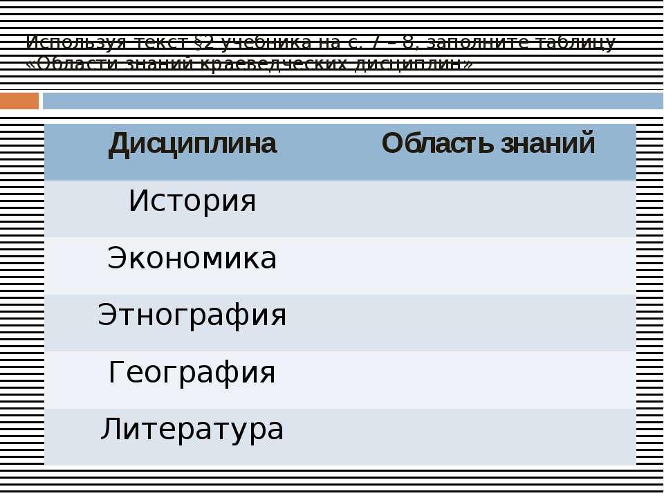 Используя текст §2 учебника на с. 7 – 8, заполните таблицу «Области знаний кр...