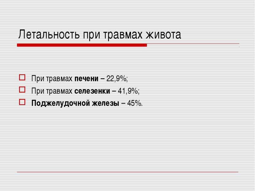 Летальность при травмах живота При травмах печени – 22,9%; При травмах селезе...