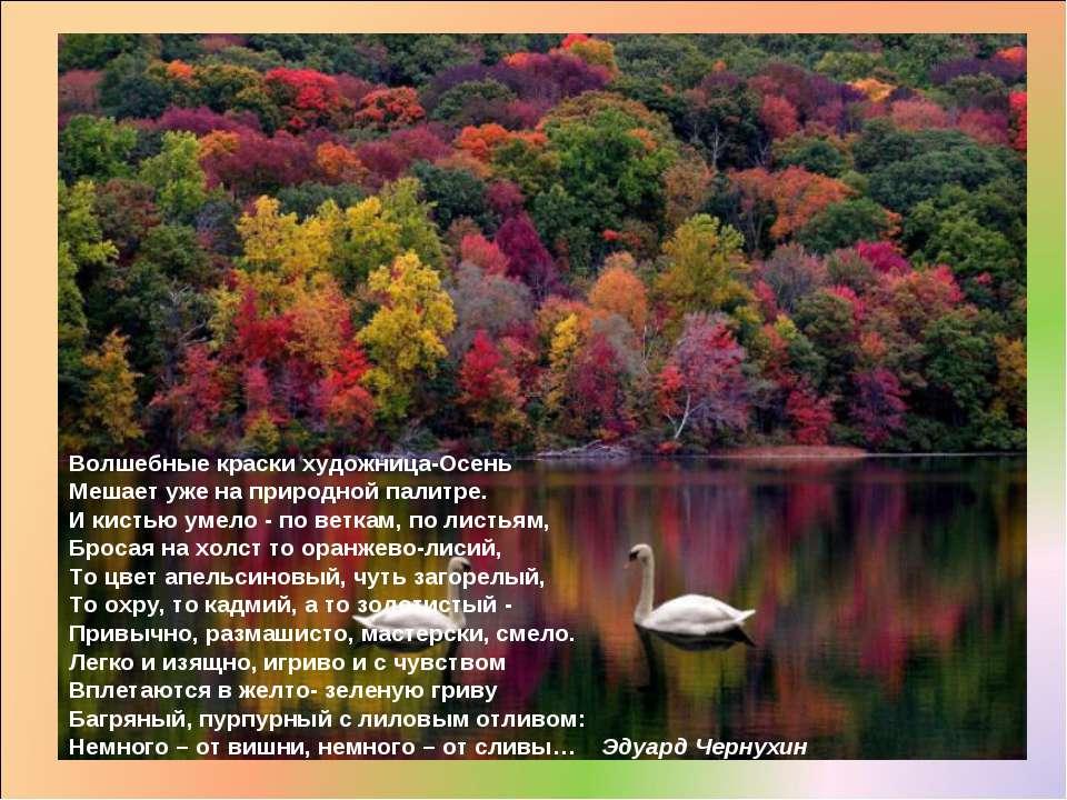 Волшебные краски художница-Осень Мешает уже на природной палитре. И кистью ум...