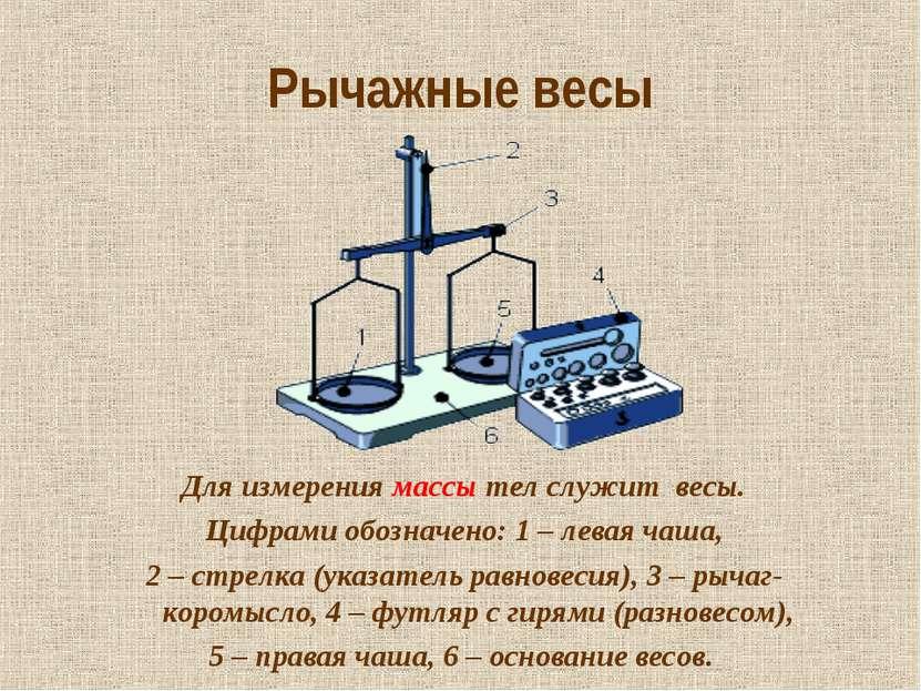 Рычажные весы Для измерения массы тел служит весы. Цифрами обозначено: 1 – ле...