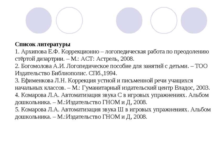 Список литературы 1. Архипова Е.Ф. Коррекционно – логопедическая работа по пр...